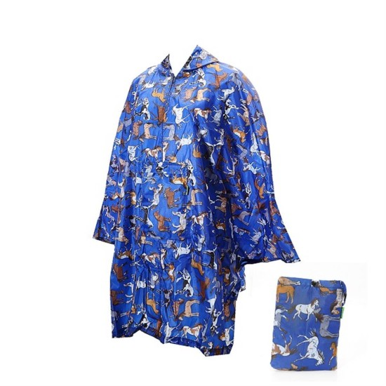 Eco Chic Country Horses Foldable Poncho - Blue