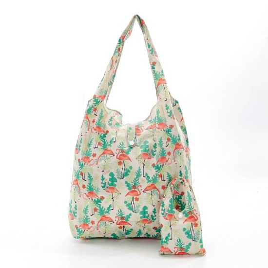 Eco Chic Flamingo Foldable Shopper - Beige