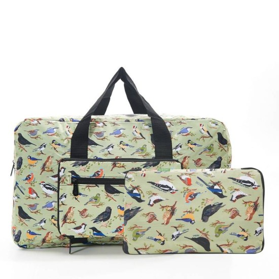 Eco Chic Green Wild Birds Foldable Holdall