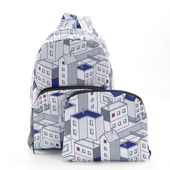 Eco Chic Houses Foldable Backpack - Blue