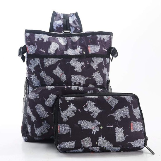 Eco Chic Lightweight Foldable Backpack Cooler - Scatty Scotty Black