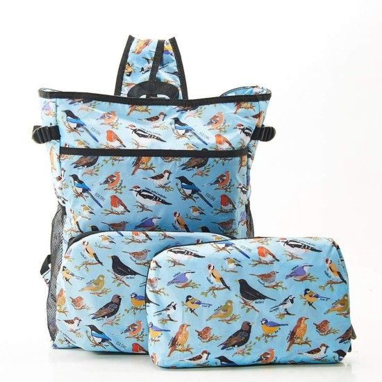Eco Chic Lightweight Foldable Backpack Cooler - Wild Birds Blue