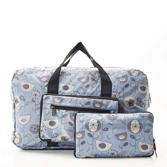 Eco Chic Lightweight Foldable Holdall - 1950's Flower Grey