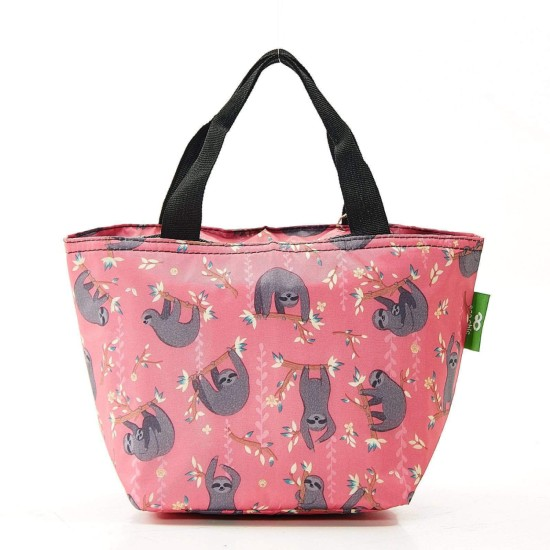 Eco Chic Lightweight Foldable Lunch Bag - Sloth Pink