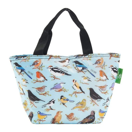 Eco Chic Lightweight Foldable Lunch Bag - Wild Birds Blue