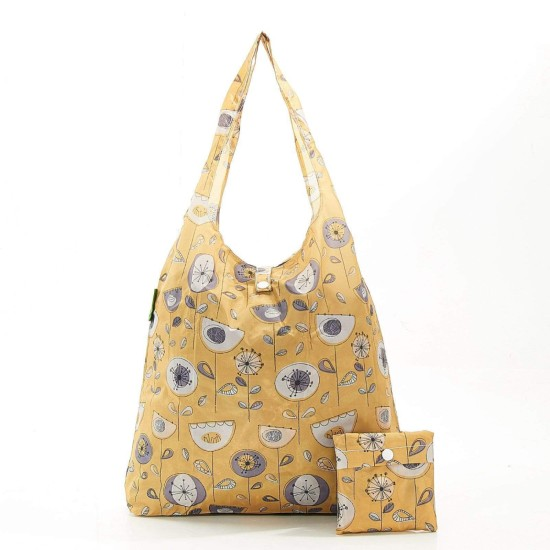 Eco Chic Lightweight Foldable Reusable Shopping Bag - 1950's Flower Mustard