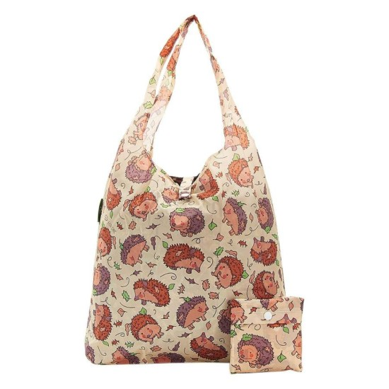 Eco Chic Lightweight Foldable Reusable Shopping Bag - Hedgehog Beige