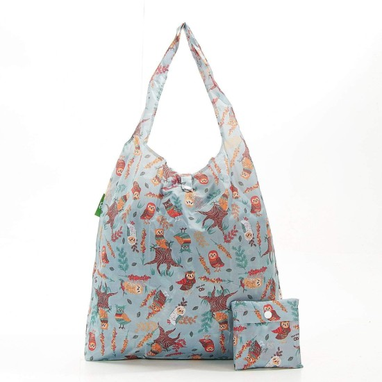 Eco Chic Lightweight Foldable Reusable Shopping Bag - Owl Blue