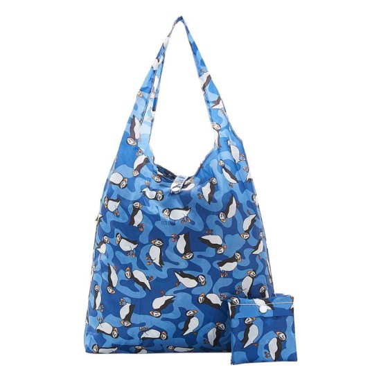 Eco Chic Lightweight Foldable Reusable Shopping Bag - Puffin Blue