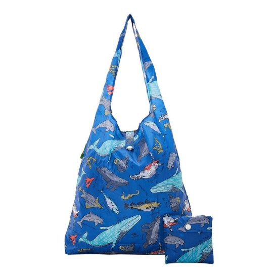 Eco Chic Lightweight Foldable Reusable Shopping Bag - Sea Creatures Blue