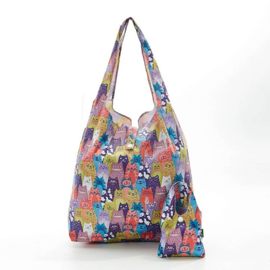 Eco Chic Multiple Cats Foldable Shopper