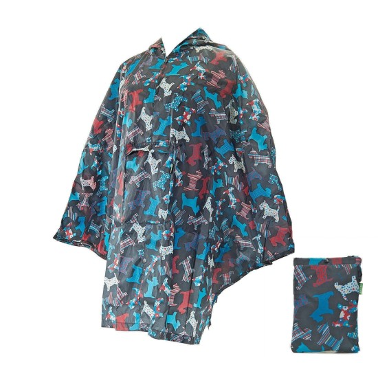 Eco Chic New Floral Scotty Dog Foldable Poncho - Black