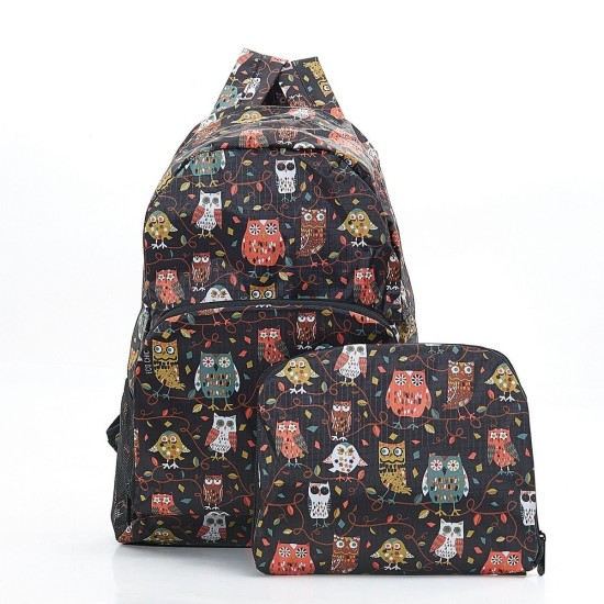 Eco Chic Owl on the Branch Foldable Backpack - Black