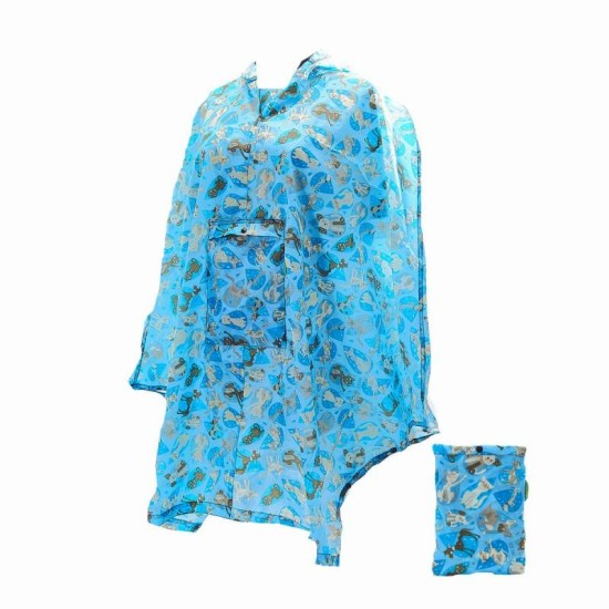 Eco Chic Rainy Cat and Dog Foldable Poncho - Blue