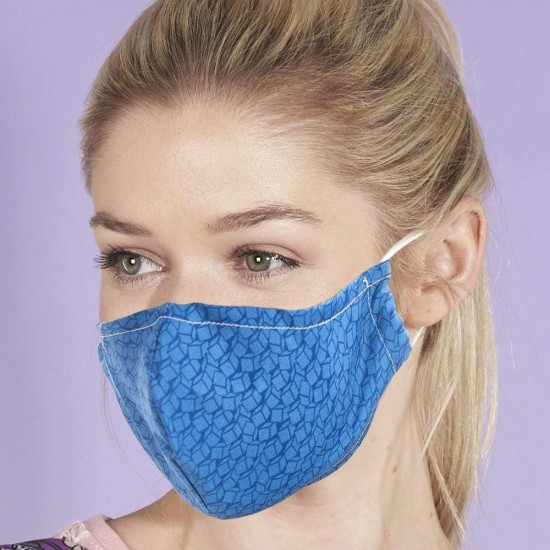 Eco Chic Reusable Face Cover / Mask - Blue Disrupted Cubes