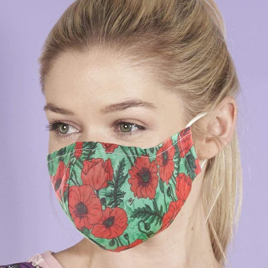 Eco Chic Reusable Face Cover / Mask - Green Poppies