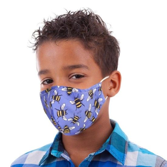 Eco Chic Reusable Mini Face Cover / Mask - Blue Bees (childrens)