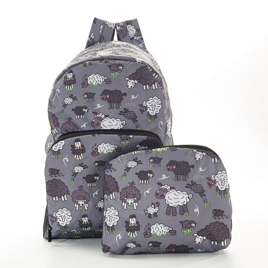 Eco Chic Grey Sheep Foldable Backpack