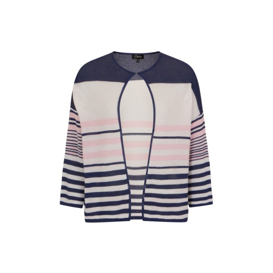 Emreco Ashley Multicolour Ripple Stitch Stripe Cardi - Indigo