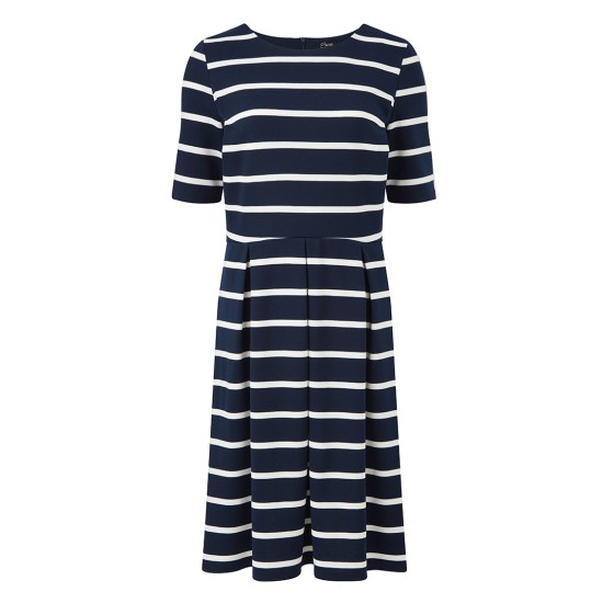 Emreco Calcot Striped Pleat Dress - Navy