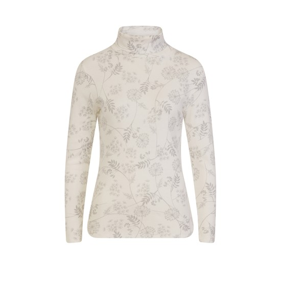 Emreco Corinne Woodland Print Polo-Neck - Winter White