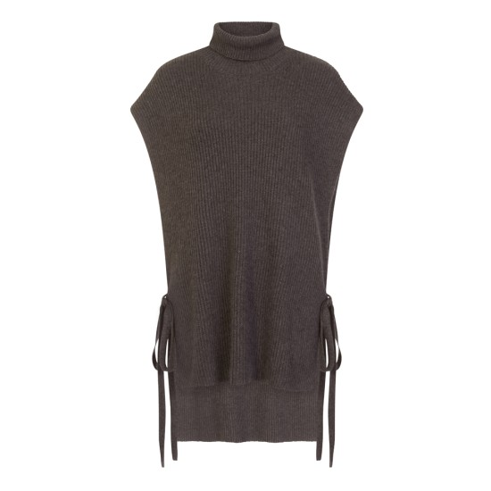 Emreco Darby Polo Neck Knitted Tabard - Dark Grey