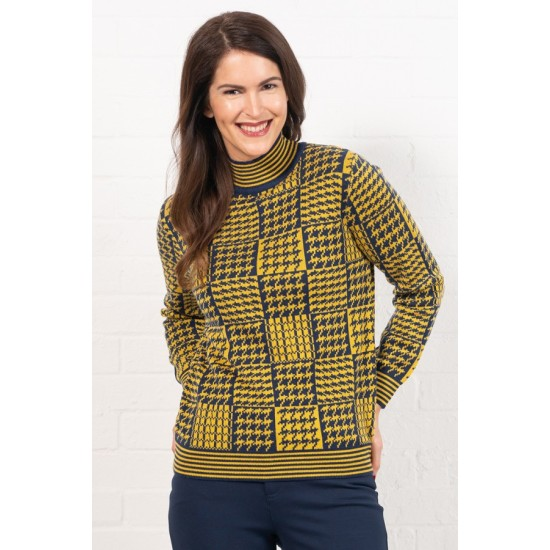 Emreco Gilly Houndstooth Knit Top - Ink Amber