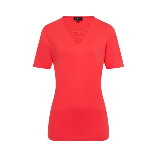 Emreco Peyton Cross Detail T-Shirt - Coral