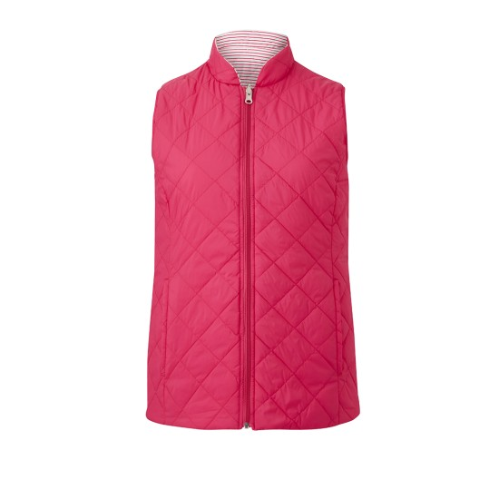 Emreco Steeple Reversible Quilted Gilet - Hot Pink / White