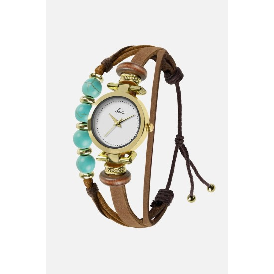 Hippie Chic Painted Rose Watch - Gold/Tan/Aqua