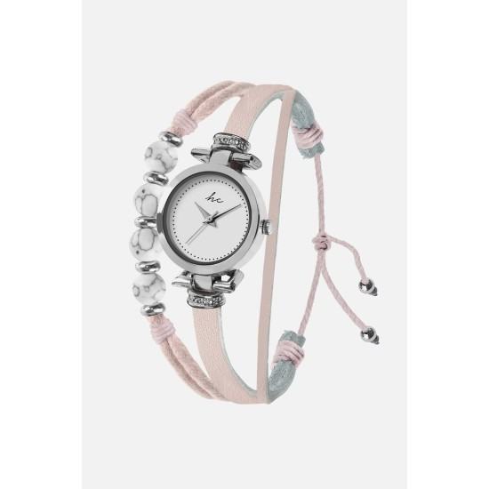 Hippie Chic Painted Rose Watch - Silver/Nude Pink