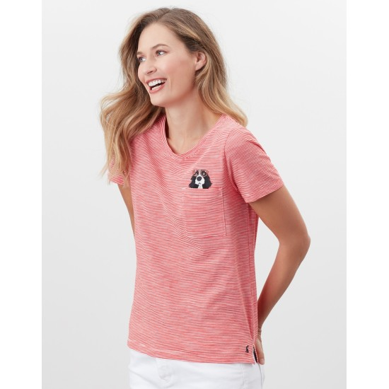 Joules Carley Print Classic Crew T-Shirt - Spaniel Pocket