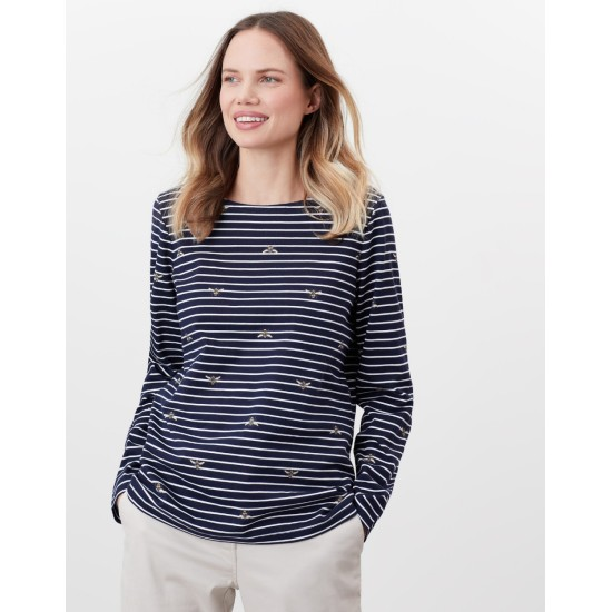 Joules Harbour Print Long Sleeve Jersey Top - Bees Stripe