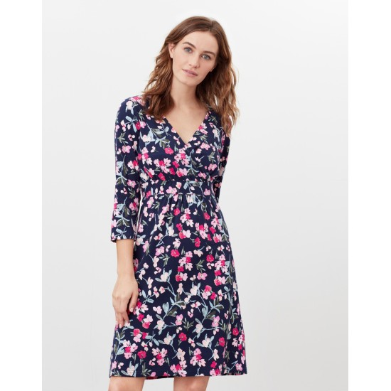 Joules Jude Print Wrap Dress - Navy Floral