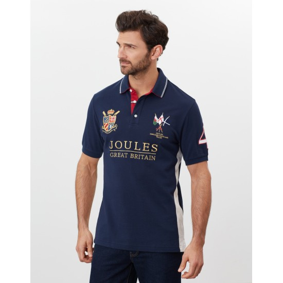 Joules Mens Millford Embellished Polo Shirt - French Navy