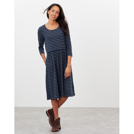 Joules Milana Dropped Waist Jersey Dress - Navy Stripe