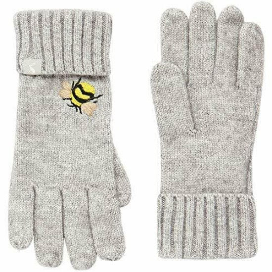Joules Stafford Embroidered Gloves - Grey Embroidered Bee