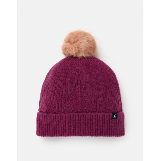 Joules Thurley Knitted Bobble Hat - Plum
