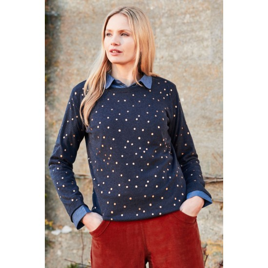 Lily & Me Meadow Jumper - Foil Spot Print Navy