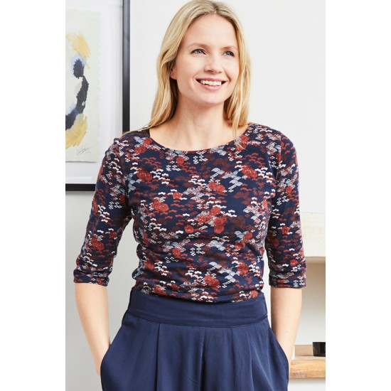 Lily & Me Monica Top - Japanese Ditsy Navy