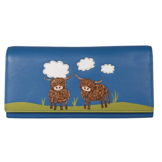 Mala Leather Bella Highland Cow Matinee Purse - Blue