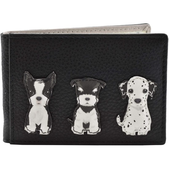 Mala Leather Best Friends Sitting Dogs ID / Travel Pass - Black