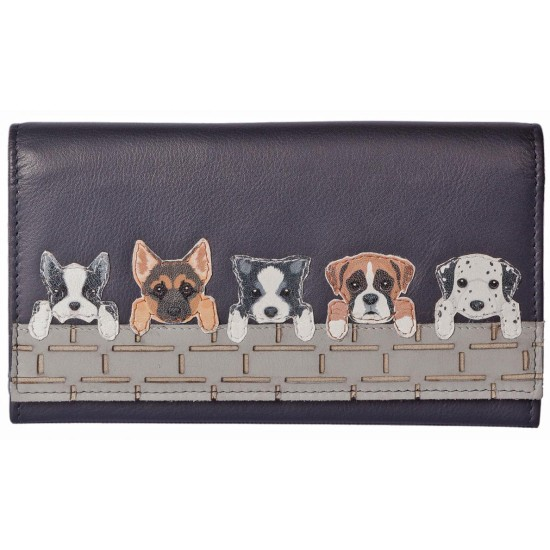 Mala Leather BF Dogs on Wall Flap Over Purse - Black