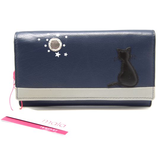 Mala Leather Midnight Cat Flap Over Purse - RFID - Navy
