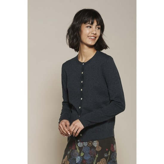 Mistral Pointelle and Bobble Knit Cardi - Eclipse Navy