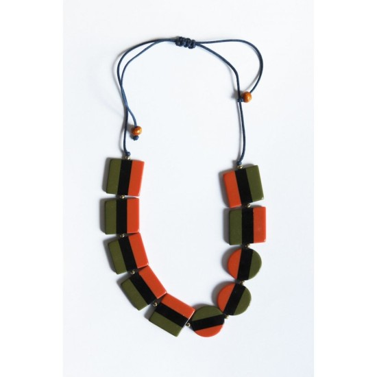 Mistral Resin Stripe Necklace - Ginger/Blue/Moss
