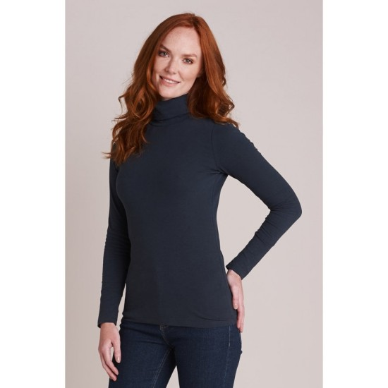 Mistral Skinny Roll Neck Top - Navy
