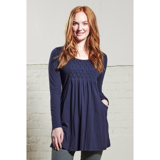 Nomads PD47 Zig Zag Pintuck Tunic - Navy Blue
