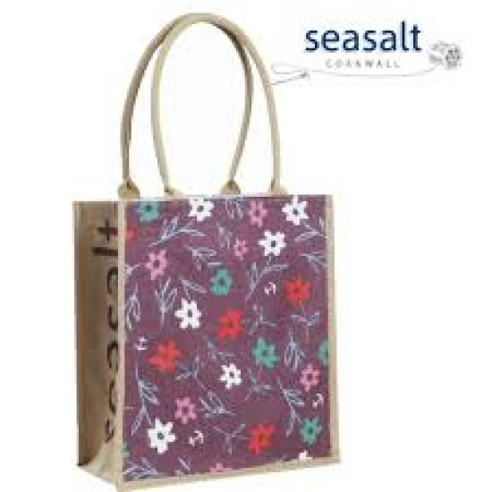 Seasalt Jute Shopper - Sea Ditsy Oilcloth