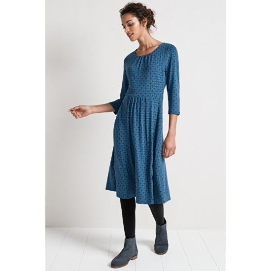 Seasalt Kestrel Dress - Coffee Stamp Night
